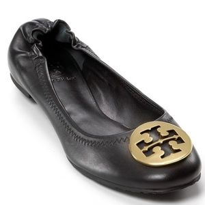 Tory Burch Reva Black Leather Gold Emblem Flats 6